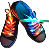 Lystaii LED Light Waterproof Shoelaces Shoestring Battery Powered Flash Lighting the Night for Party Hip-hop Dancing Skating Running Cosplay Decoration Running Valentine's Day Gift(RGB Colorful)