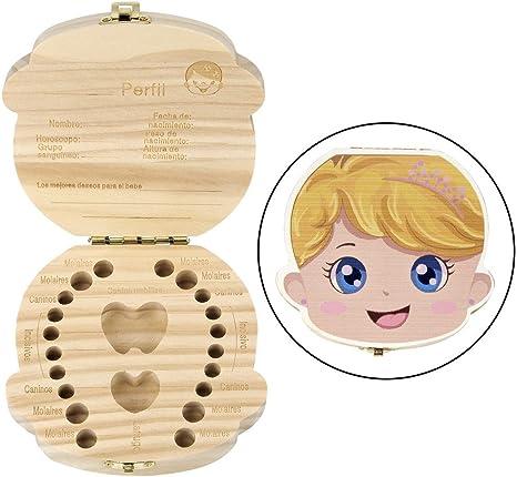 Mangostyle - Caja de recuerdo para dientes de leche, dientes infantiles, caja de recuerdo, Ratoncito Pérez, de madera, regalo para bebés y niños. Principessa: Amazon.es: Bebé