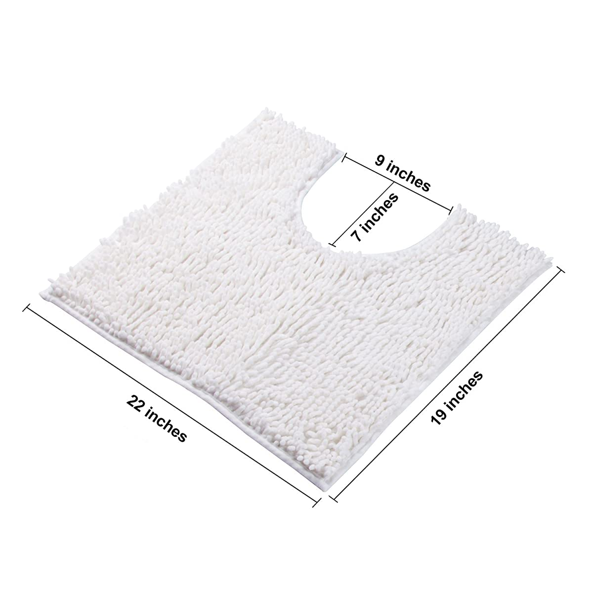 VDOMUS Microfiber Bathroom Contour Rugs Combo, Set of Soft Shaggy Non Slip Bath Shower Mat and U-shaped Toilet Floor Rug (White)