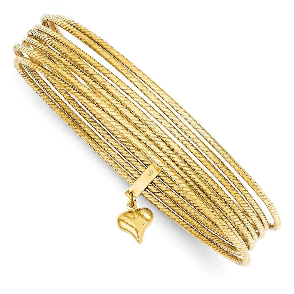 14K Gold Slip On 7 Bangle Bracelets (9 Inches)