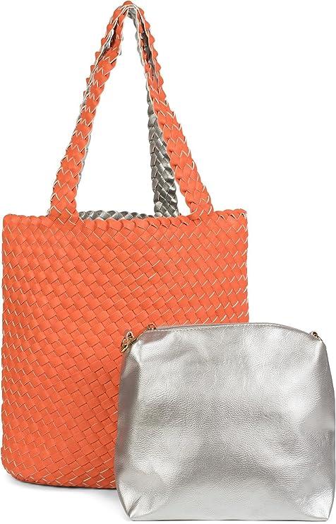 80ed6392c1 styleBREAKER borsa double face con trama intrecciata, shopper, borsetta,  set composto da 2