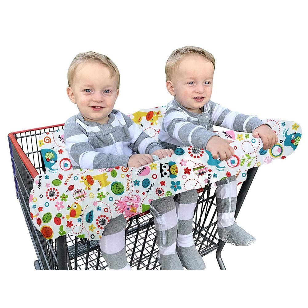 Double Shopping Cart Cover for Twins Baby or Toddler Machine Washable Fit Restaurant Highchair 2 in 1 Large High Chair Cover for Boys Girls Fold into Compact Carry Bag