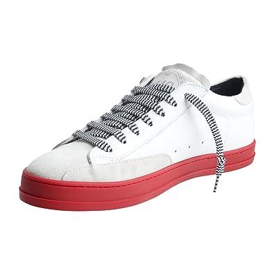 size 40 b5fe7 0e6e7 P448 Herren Schuhe Low Sneaker E8JOHNF von Farbe Weiß Rote Sohle Made in  Italy Frühjahr Sommer
