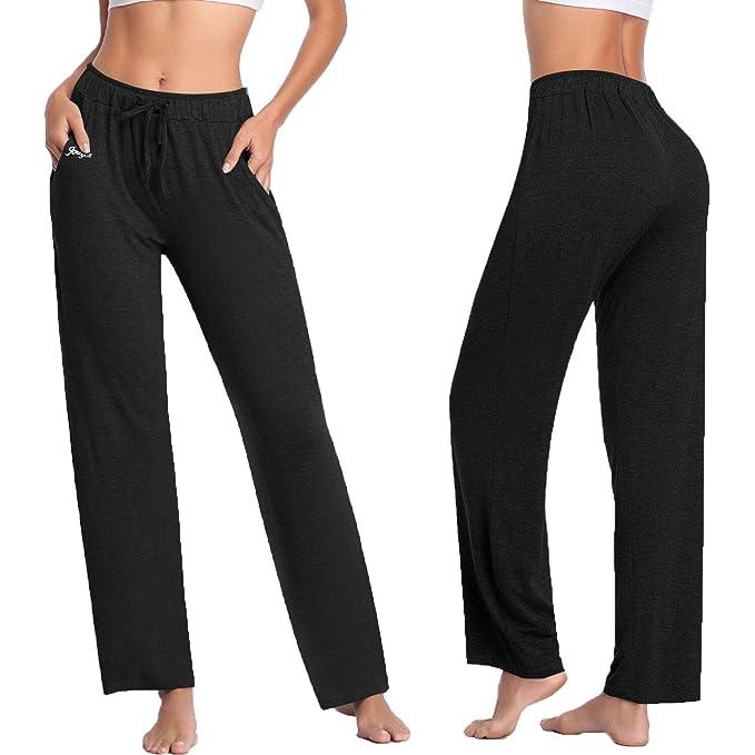 Amazon.com: Pantalones de yoga para mujer de pierna ancha ...