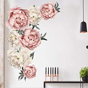 Peony Flowers Wall Sticker Waterproof PVC Peony Rose Flowers Wall Decals Removable Floral Wall Decor Sticker for Living Room Bedroom Nursery Room