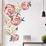 Prabahdak Peony Flowers Wall Sticker Waterproof PVC Peony Rose Flowers Wall Decals Removable Floral Wall Decor Sticker…