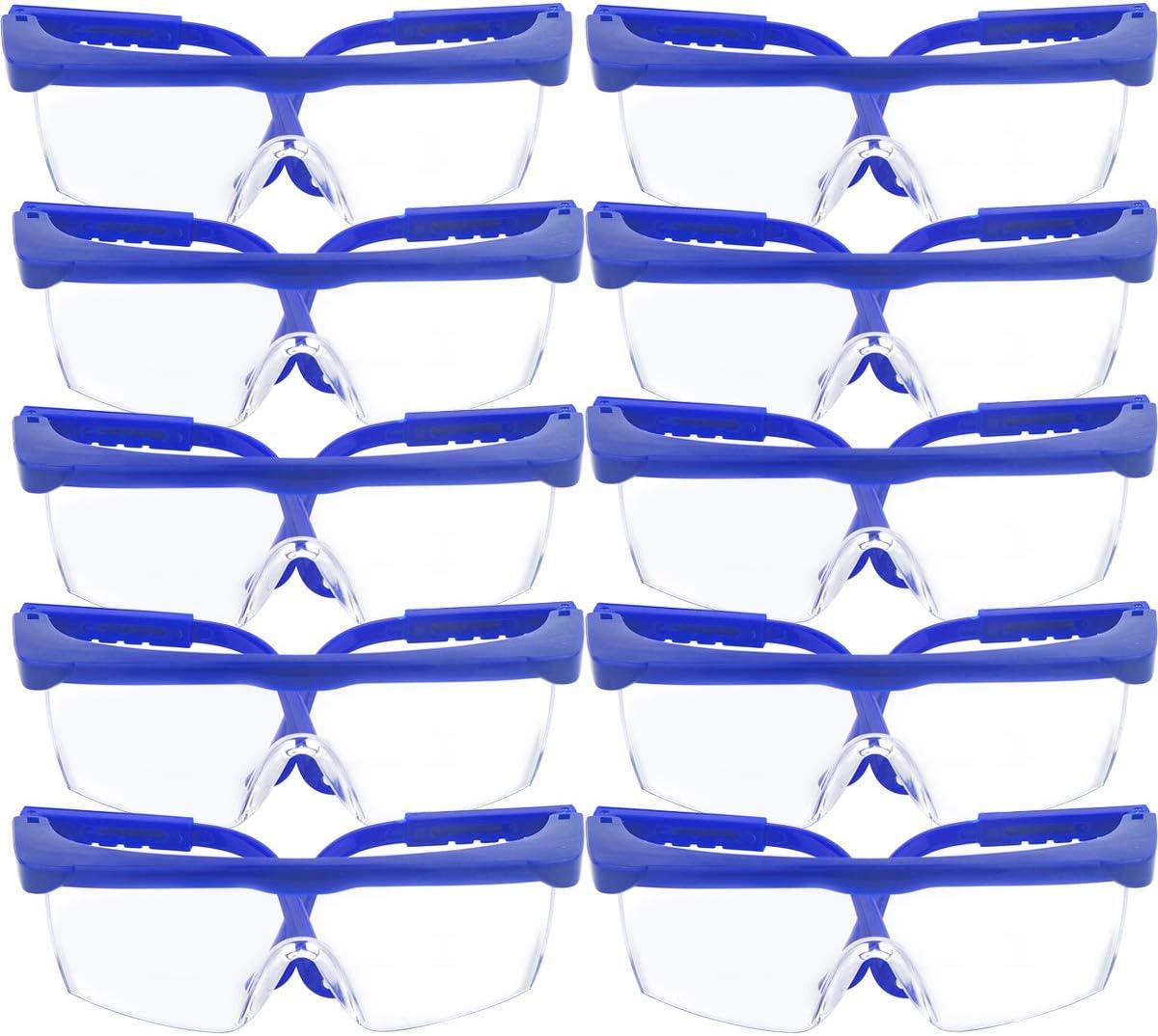 10 Pack gafas de seguridad y gafas protectoras, toohxl ajustable azul marcos para niños adultos gafas de protección con goma gruesa PC lentes, para deportes y actividades al aire libre juego