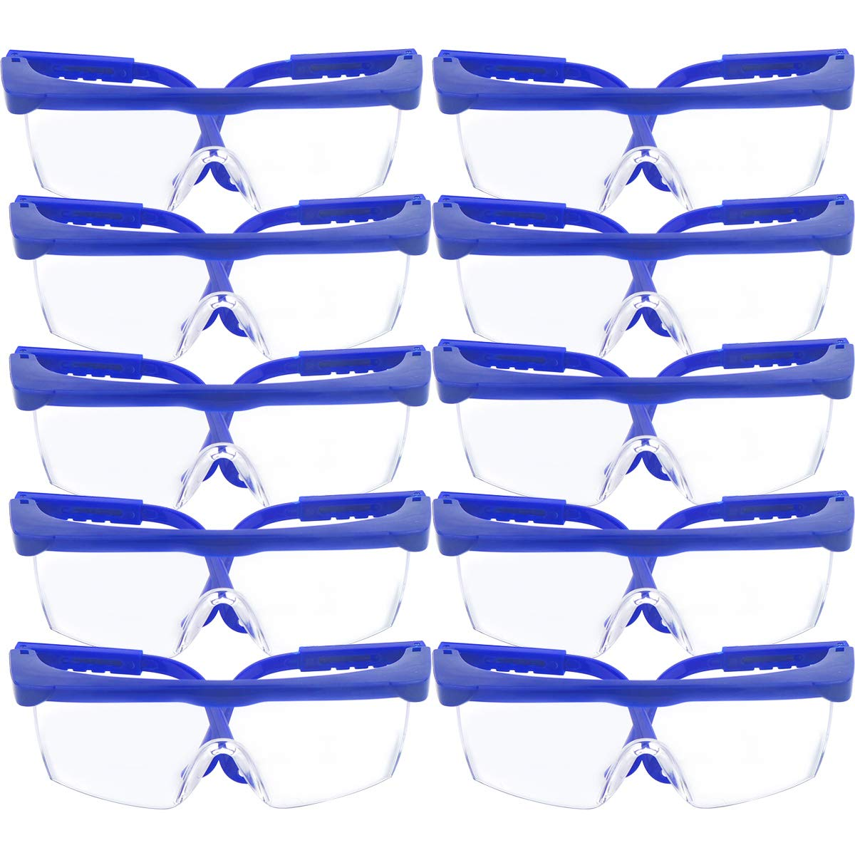 10 Pack Safety Glasses & Protective Goggles, TooTaci Adjustable Blue Frames for Kids adult Eye Protection with Clear Thicker PC Lenses For Outdoor Activities Game TAXI