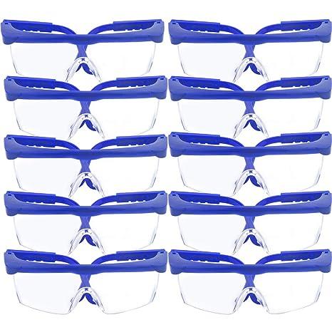10 Pack gafas de seguridad y gafas protectoras, toohxl ajustable azul marcos para niños adultos
