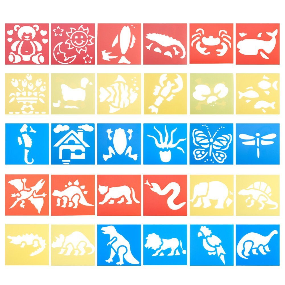 NBEADS 5 Sets 30 Pieces Animal Plastic Painting Stencils, 30 Different Patterns of Drawing Spraying Templates Reusable for Kids Learning, Scrapbooking, School Projects and DIY Crafts