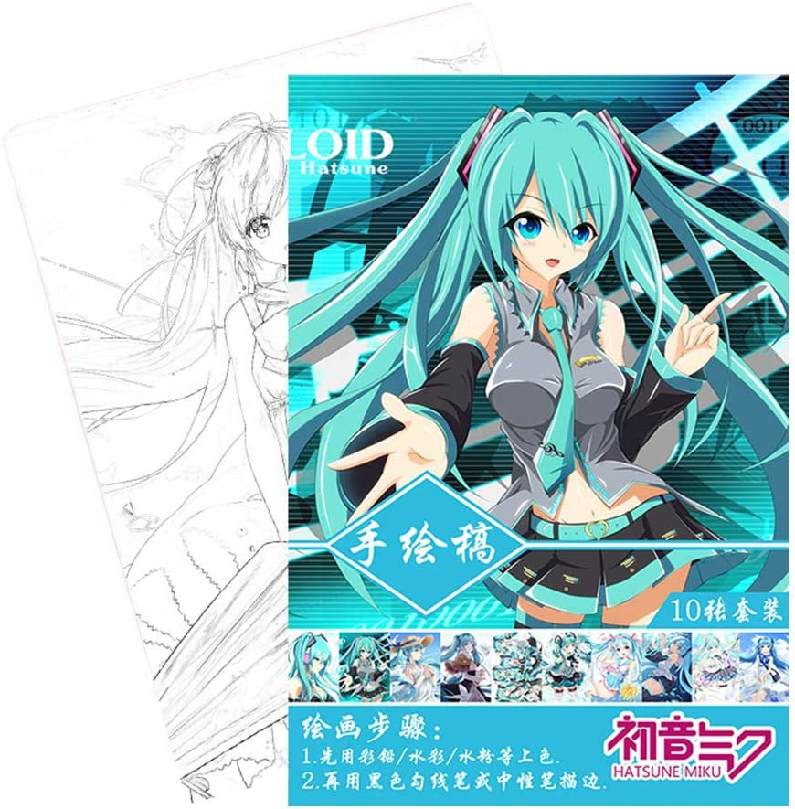 Altcompluser Hatsune Miku Colouring Book For Adults Children Pop Manga Coloring Book Amazon Co Uk Office Products