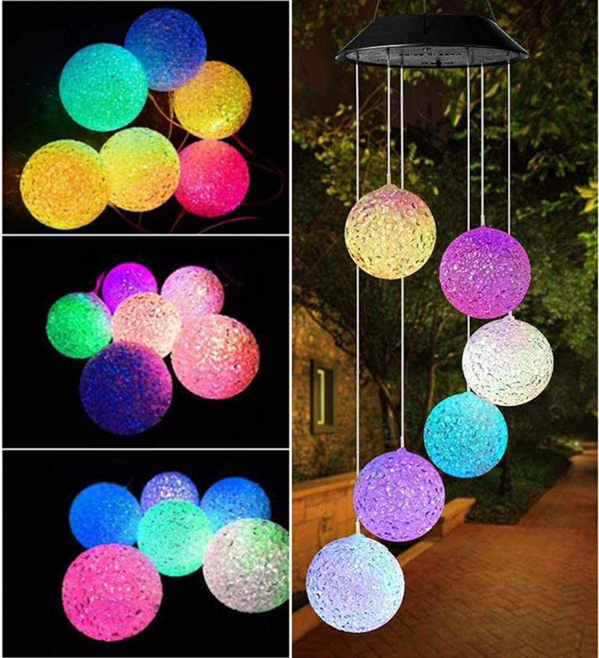 Solar Wind Chimes Garden Outdoor Decor Wind Chimes Environmental Waterproof LED Color Changing Romantic Hanging Lights