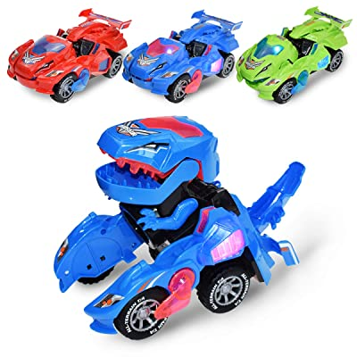Transforming Car with LED Light and Sound, Transformers Toy Car Change into Dinosaur for 3+ Years Old Boys Kids (Blue): Sports & Outdoors