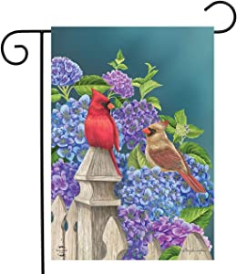 "Briarwood Lane Cardinals and Hydrangeas Spring Garden Flag Fencepost Floral Birds 12.5"" x 18"""