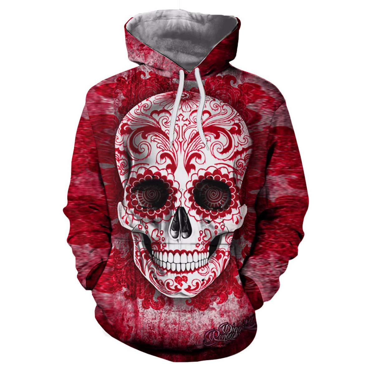 Ninmon Shares 3D Hoodied Skulls Printed for Women Sweatshirt Halloween Pullover