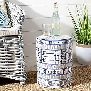 Safavieh ACS4581A Parri Ceramic Decorative Garden Stool, Blue and White