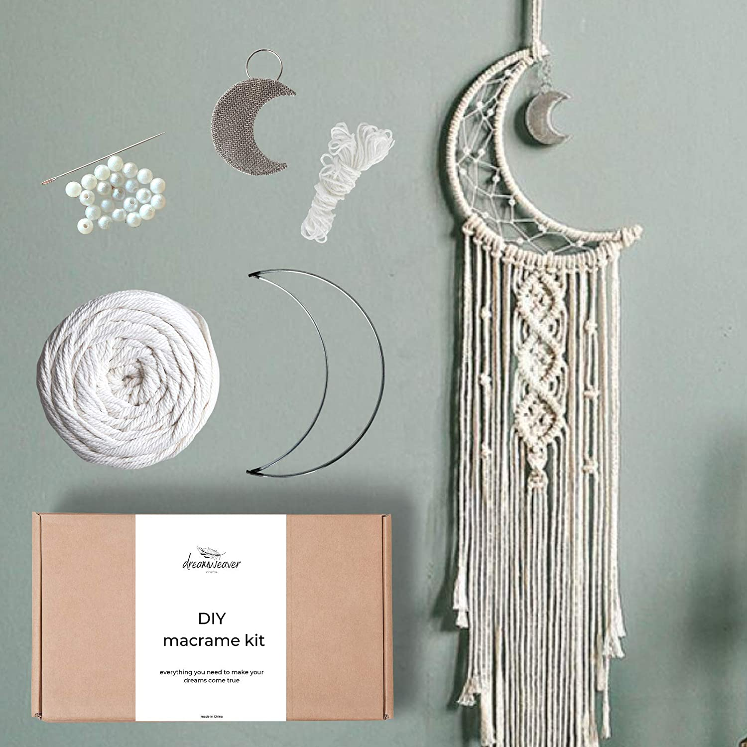 Macrame Dream Catcher Kit Macrame Cotton Cord 3mm x 100m with Moon Star Circle Metal Rings Hoops Macrame Supplies for DIY Dreamcatcher Home Decor Wall Hanging Crafts