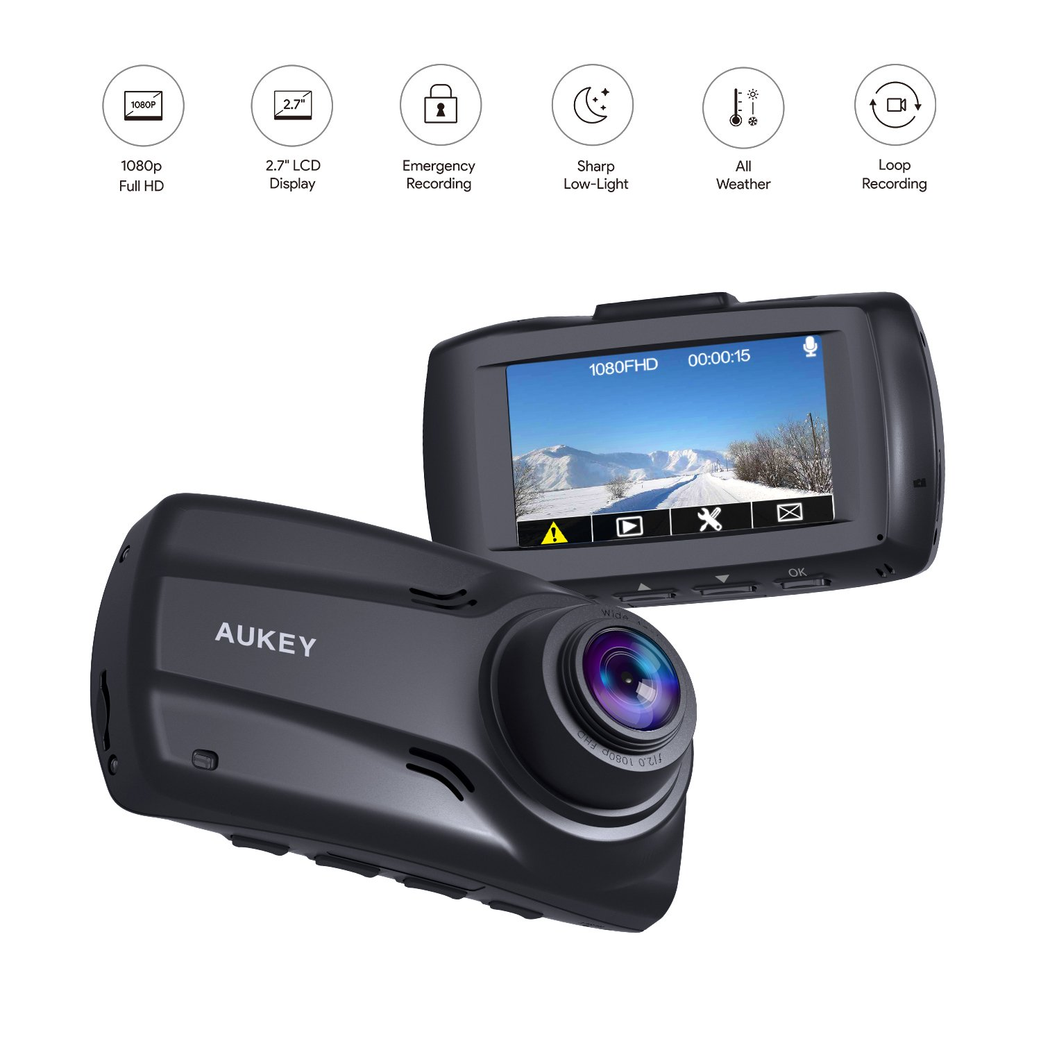 """AUKEY 1080p Dual Dash Cams with 2.7"""" Screen, Full HD Front and Rear Camera, 6-Lane 170° Wide-Angle Lens, G-Sensor, and Dual-Port Car Charger by AUKEY (Image #2)"""