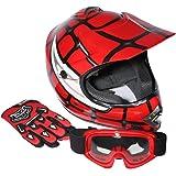 XFMT Youth Kids Motocross Offroad Street Dirt Bike Helmet Goggles Gloves Atv Mx Helmet Pink Butterfly (XL, Red Spider)