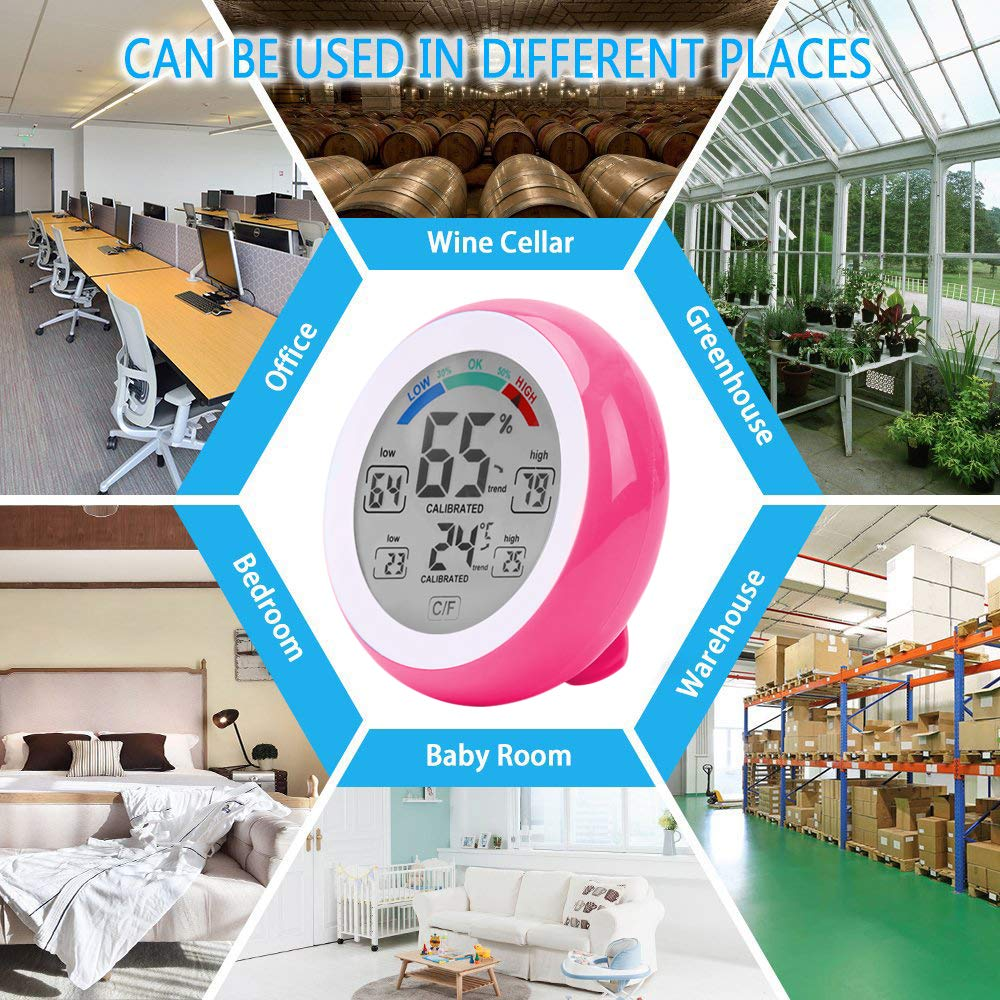jiguoor Multifunctional ℃//℉ Digital Thermometer,Hygrometer,Temperature Humidity Meter-Max /& Min Value Trend Display with Touch Screen for Indoor Room Greenhouse Office