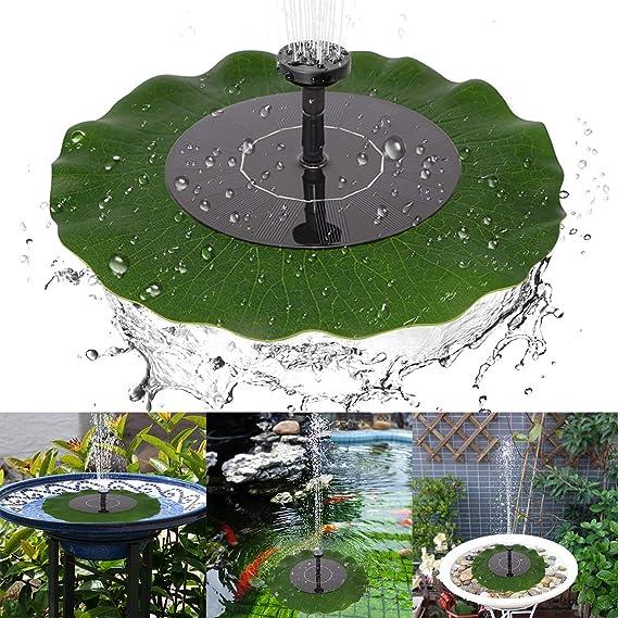 Yinuoday Fuente Solar para la decoración del jardín del Estanque del baño de Aves con Hoja de Loto y 4 Cabezales con patrón de rociado: Amazon.es: Jardín