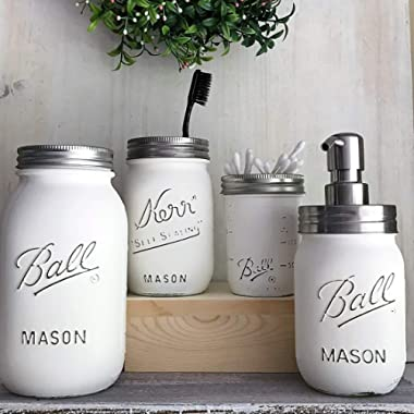 Farmhouse Bathroom Decor Mason JAR Soap Dispenser and Toothbrush Set White PAINTED and Distressed Ball Jars Vanity Organizer