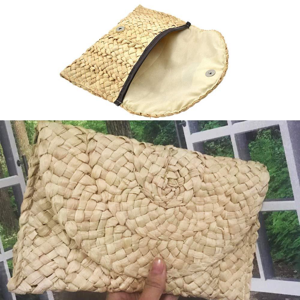 Comidox 1Pcs Rattan Woven Handbag Straw Clutch Handbag Handmade Straw Knitted Messenger Purse Envelope Bag Wallet Beach Bag Gift