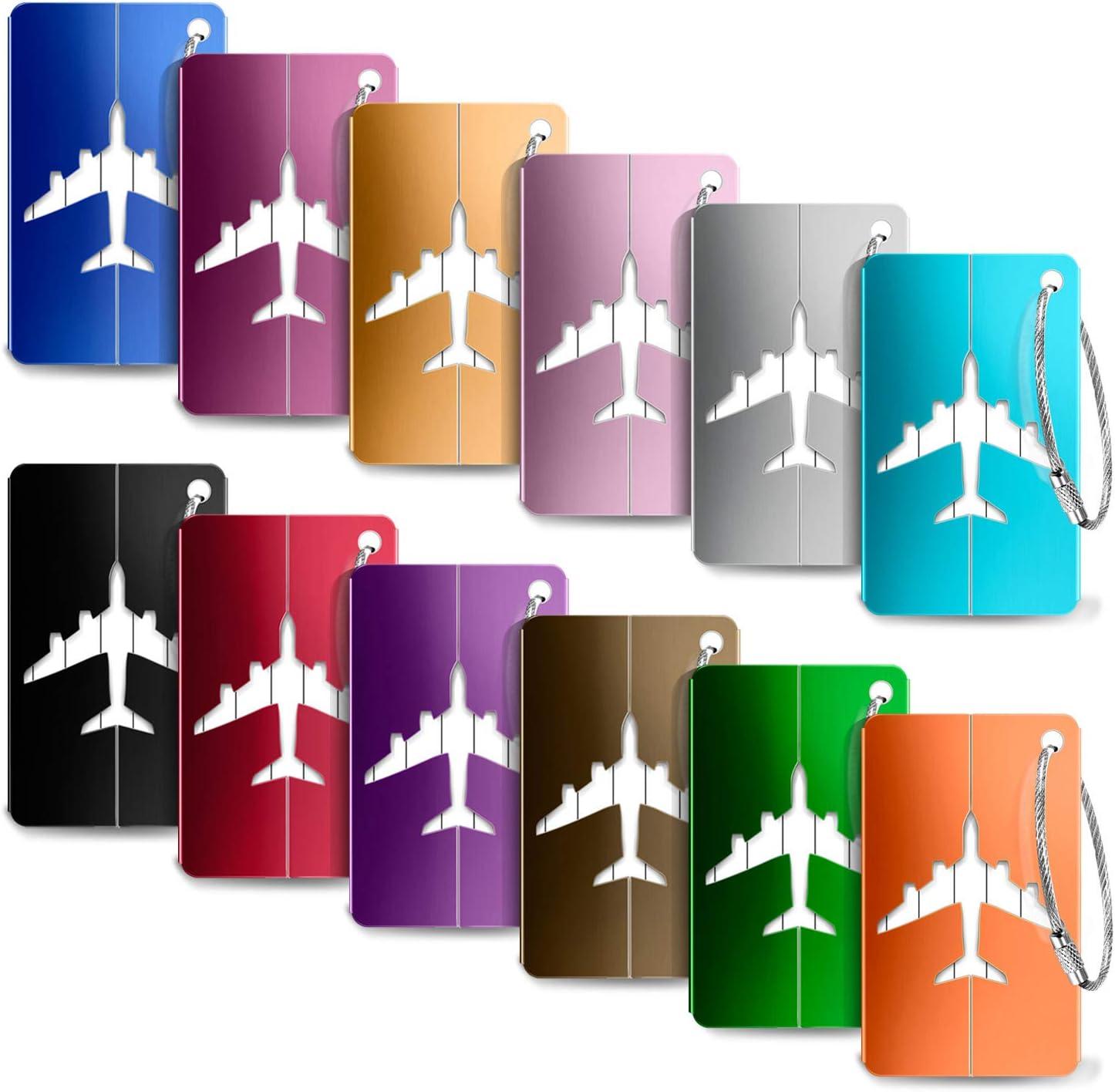 Etiquetas para Equipaje,Yosemy 12pcs identificador de Maletas de Etiqueta de Aluminio Plano patrón Equipaje Bolso ID Tag portatarjetas con Llavero