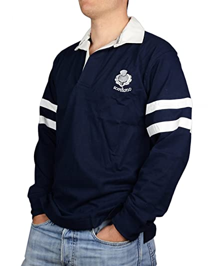 453e161f Scotland L/S 2 Stripe Rugby Shirt Navy Blue: Amazon.co.uk: Clothing