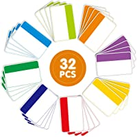 Magnetic Dry Erase Labels Name Plates Tag White Board Accents Magnets 32 Labels 8 Colors Data Card Holders for Classroom…