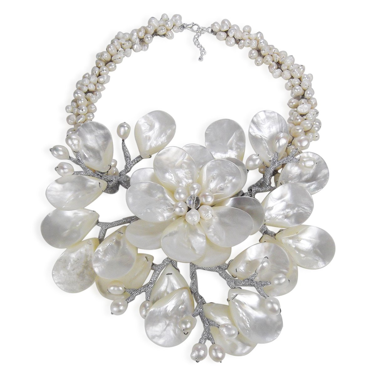 Colossal Floral Mother of Pearl & Cultured Freshwater Pearl Collar Necklace