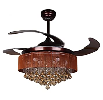 Parrot Uncle Ceiling Fans With Lights 42u0026quot; Modern Brown Ceiling Fan  Retractable Blades Crystal LED