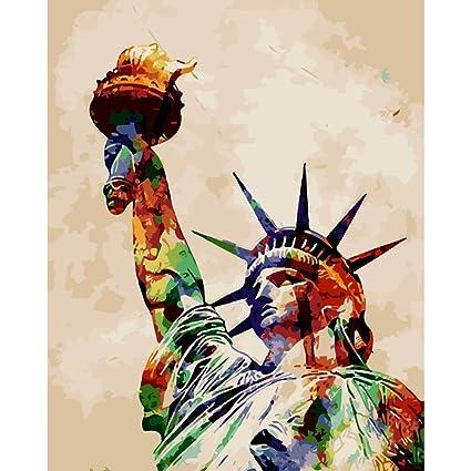 KAYI Estatua de la Libertad Pintura al óleo por Kit de Números - DIY ...