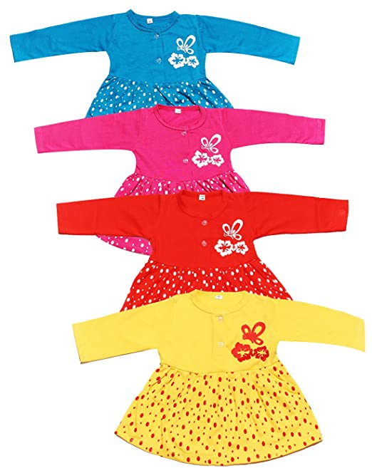 1e4283b660 babeezworld Baby Girl Regular Wear Cotton Full Sleeves Vest Jhabla Frock  Dress - Combo Set of 4 (Multicolour, 9-12 Months): Amazon.in: Clothing & ...