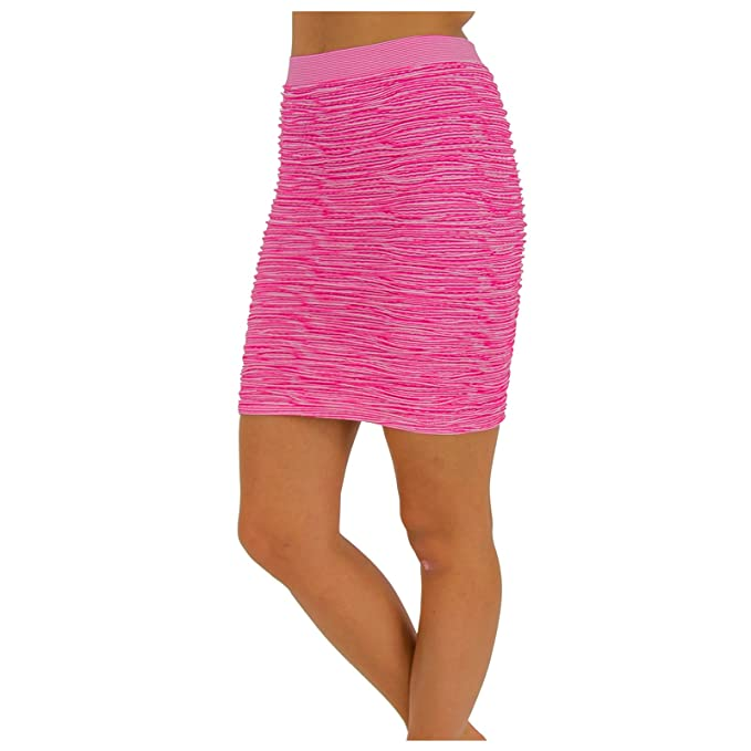 00c9f781c9 Bodycon Above Knee Skirt for Women Short Cotton Stretch Fit (Neon Pink)