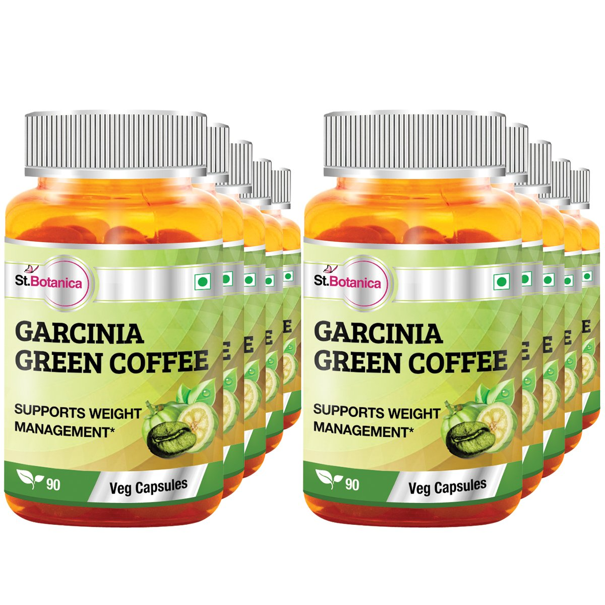 St.Botanica Garcinia Green Coffee Bean Extract - 90 Veg Caps- Pack Of 10 by St. Botanica (Image #1)