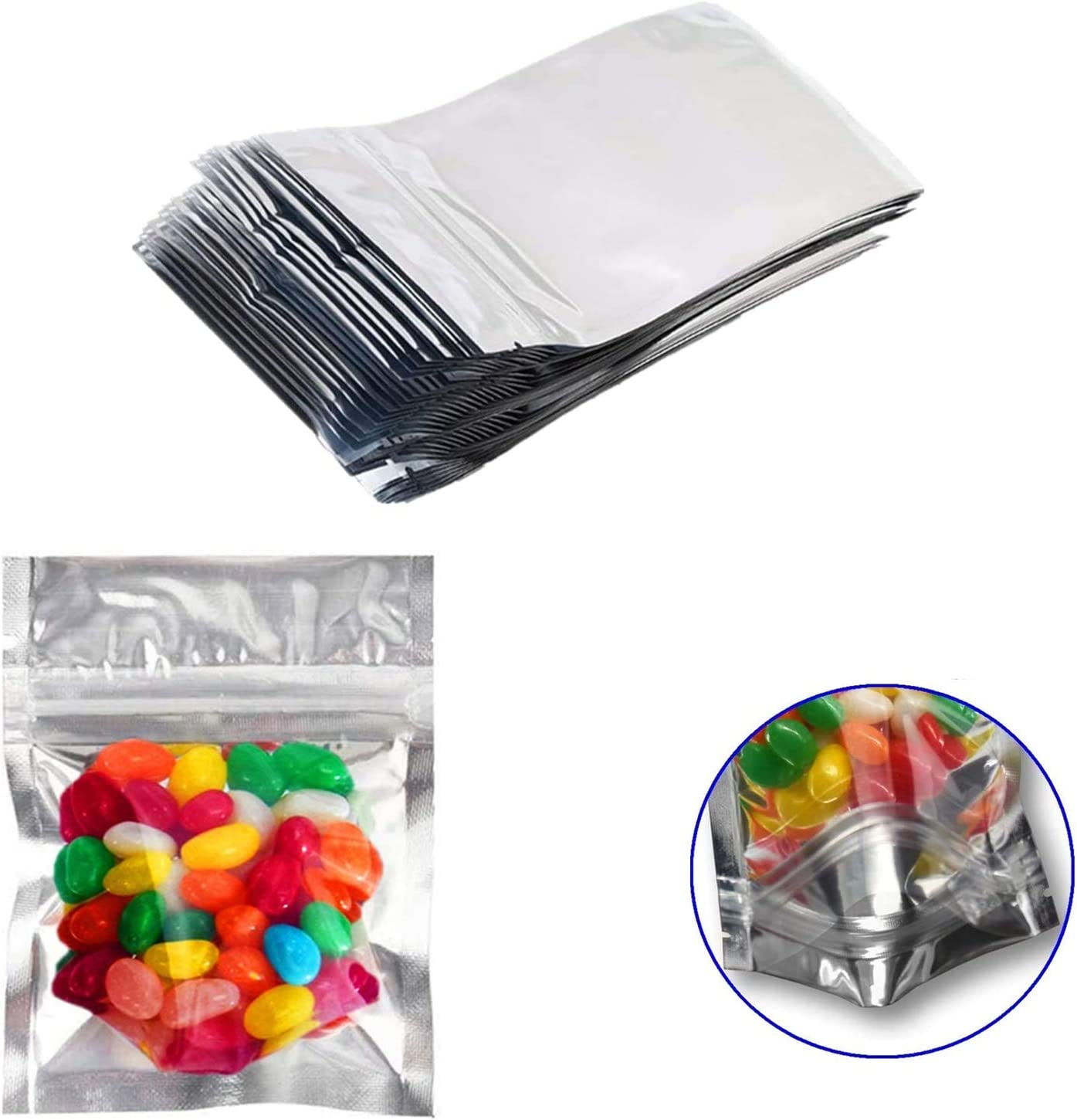 100 Pack Smell Proof Mylar Bags Foil Pouch Resealable Zip Lock 4 x 6 Inches