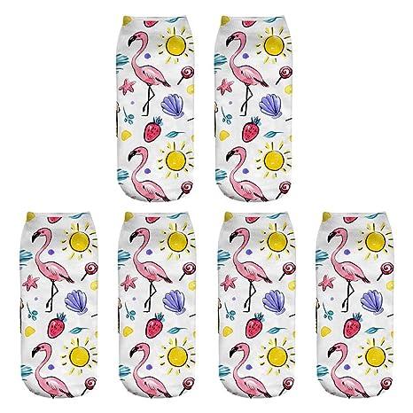 Scrox 3 Pares Calcetines para Hombre,Mujer y Niño 3D Colorido Flamenco Patrón Socks Unisex