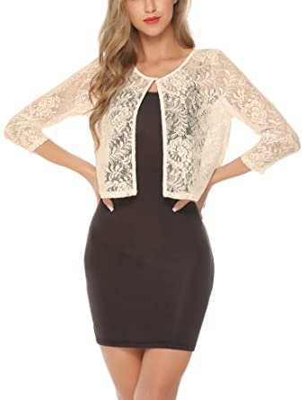 f59152b8c33 Abollria Women s Lace Shrug Sheer Cropped Bolero Cardigan Jacket Apricot