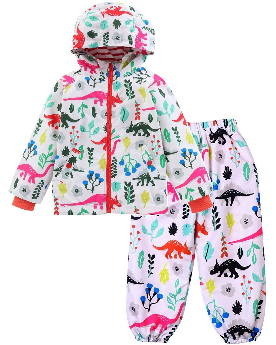 KISBINI Boys' Cartoon Dinosaur Windp Jacket Raincoat and Rain Pant Set White 6T