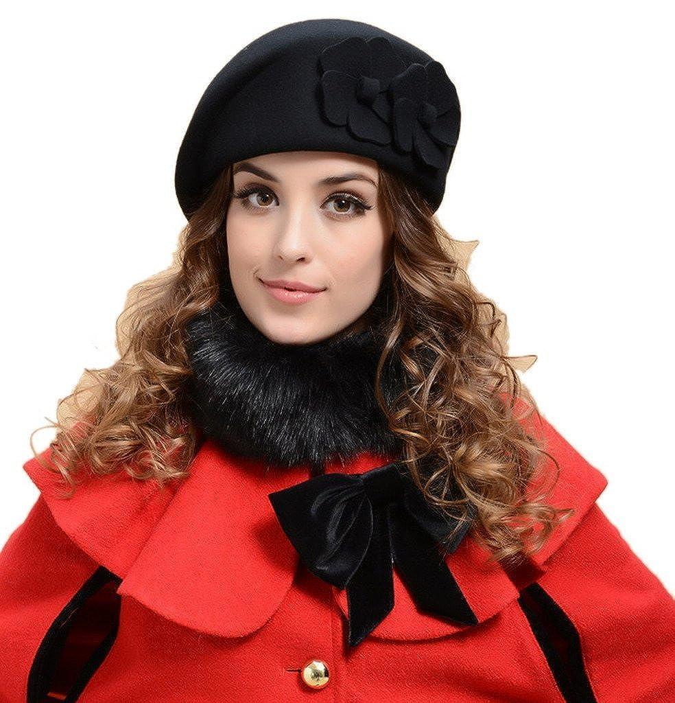 YueLian Solid Color Flower Women French Wool Beret Warm Ski Beanie Hats Cap  Petrine Berets (Black) at Amazon Women s Clothing store  88e441160fa6