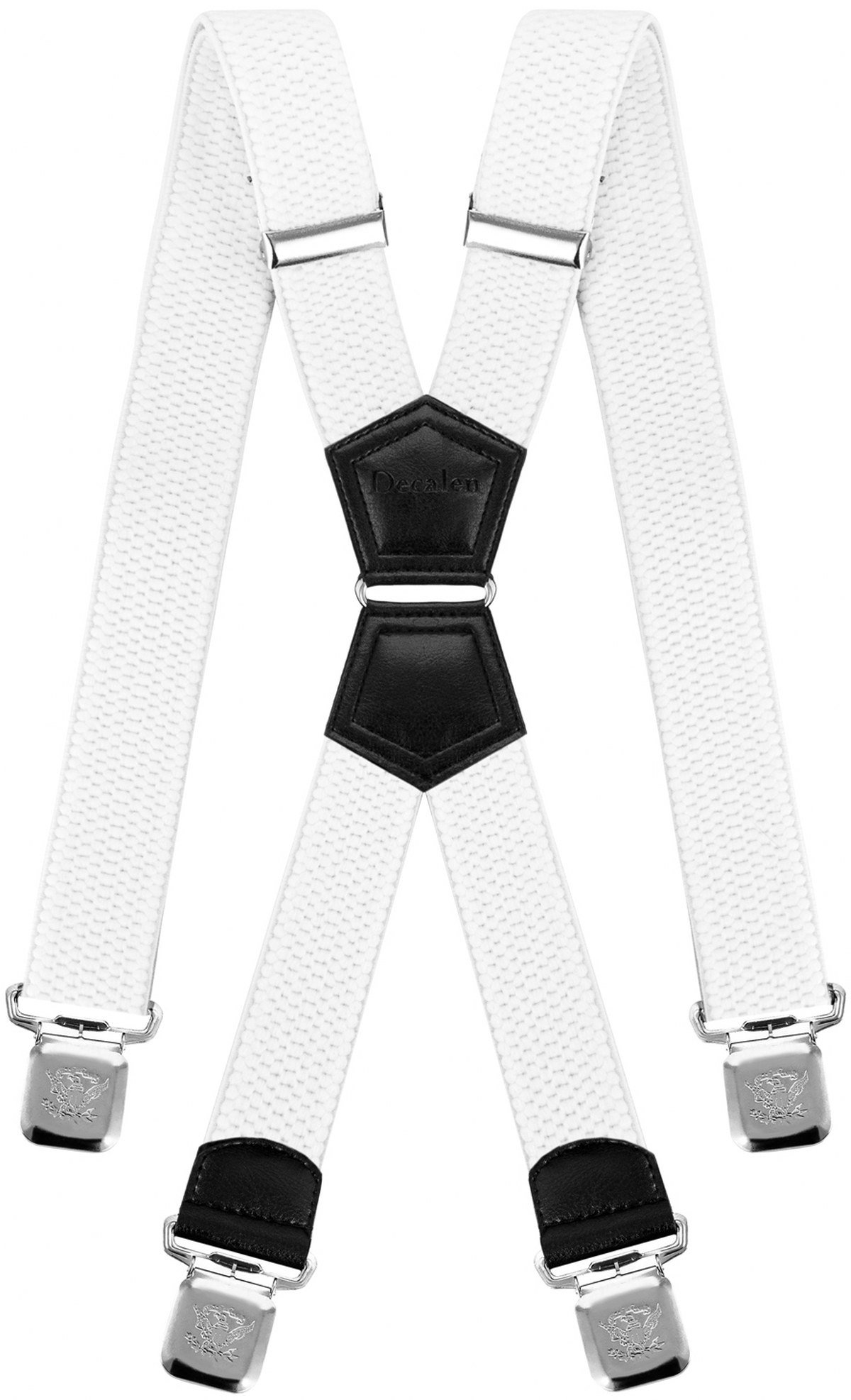 Mens Suspenders X Style Very Strong Clips Adjustable One Size Fits All Heavy Duty Braces (White)