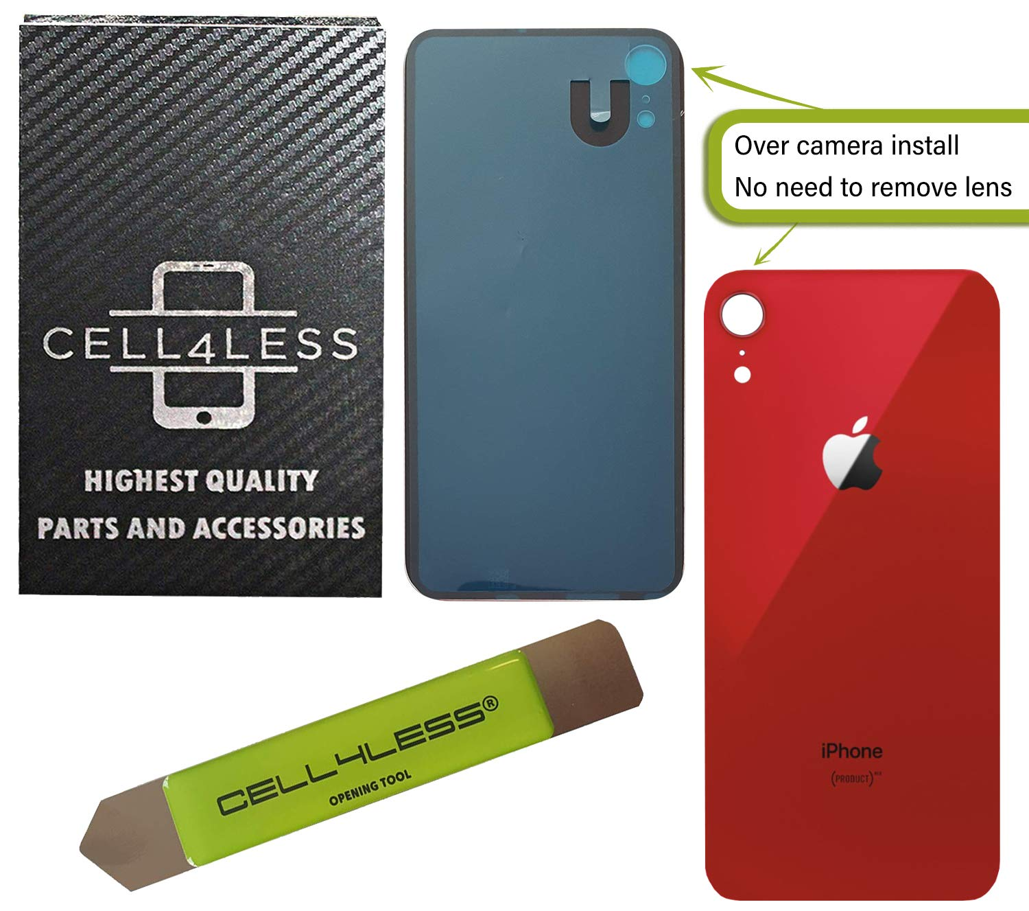 CELL4LESS Back Glass Replacement Compatible w/The iPhone XR Including Wide Camera Hole, Adhesive & Removal Tool (Product RED) by Cell4Less