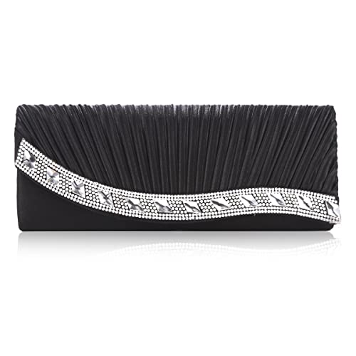 Damara Womens Luxurious Satin Jewel Handbag,Black