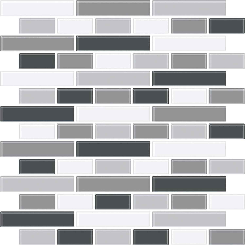 - In Home NH2362 Smoked Glass Peel & Stick Backsplash Tiles, Black