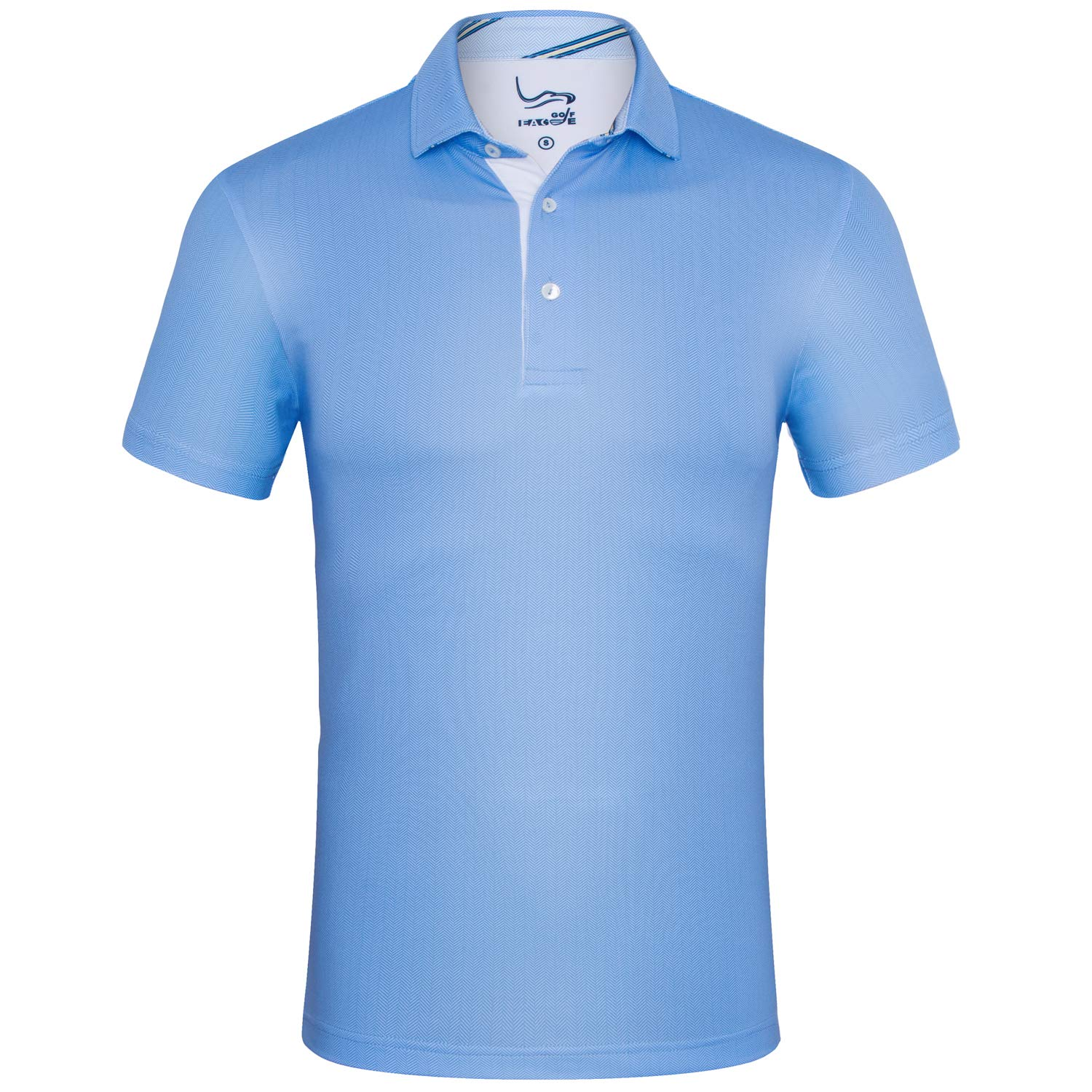 EAGEGOF Regular Fit Men's Shirt Stretch Tech Performance Golf Polo Shirt Short Sleeve XL (Sky Blue Fish Bone)