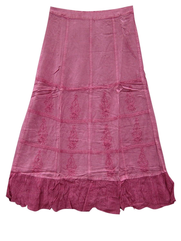 Mogul Interior Womens Long Skirt Pink Embroidered Rayon Flare Boho Gypsy Medieval Skirts