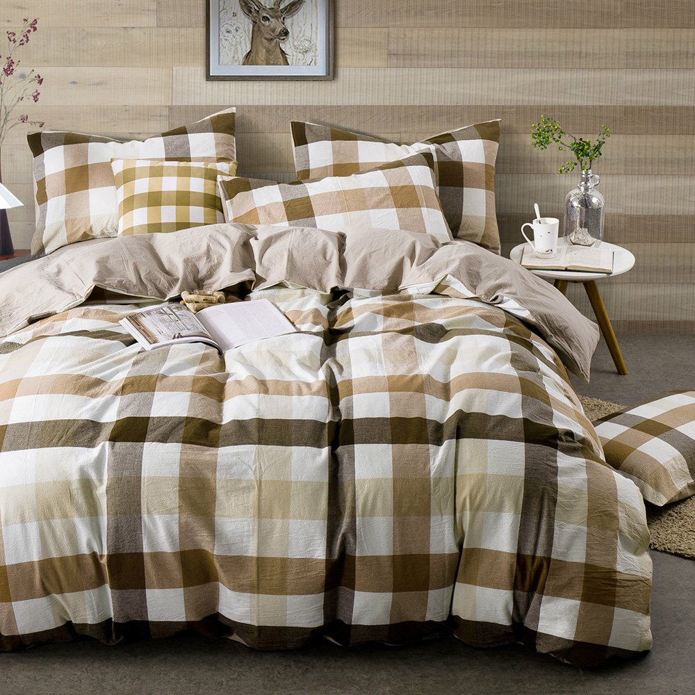 HIGHBUY Geometric Grid Print Bedding Set Full Washed Cotton 3 Piece Duvet Cover Set with Zipper Closure Coffee Khaki Plaid Pattern Comforter Cover