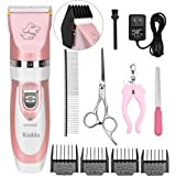 Pet Grooming Clippers, Kedda Rechargeable Cordless Dog Grooming Clippers Kit Low Noise Electric Hair Trimming Clippers Set For Small Medium Large Dogs Cats Other Animals (pink)