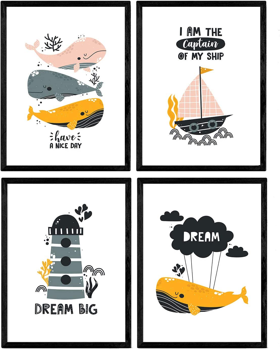 Pack de Cuatro Posters con Ilustraciones de Ballenas. Láminas con imágenes Infantiles de Ballenas. Ballenas Faro Marino Barco en el Fondo del mar. Tamaño A4 sin Marco…